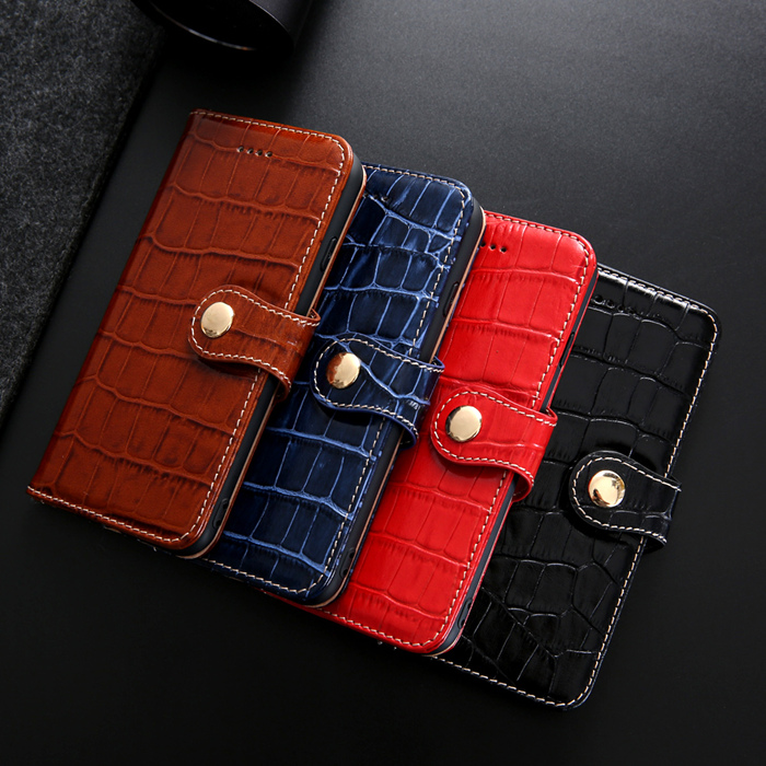 Genuine Leather Card Holder iPhone XS Max Case Crocodile Pattern