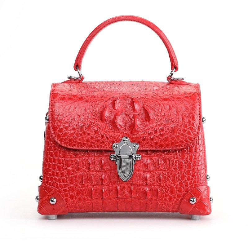 Genuine Crocodile Skin Womens Handle Handbag Fashion Satchel